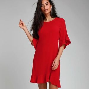 Charm in Arm Red Flounce Sleeve Shift Dress